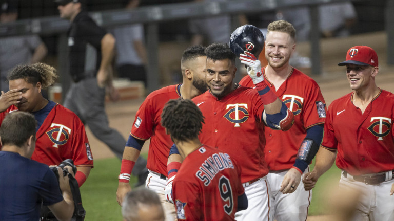 Thursday, June 10: Twins designated hitter Nelson Cruz (23) celebrates after hitting a two run walk off home run in the ninth inning against the New York Yankees at Target Field.