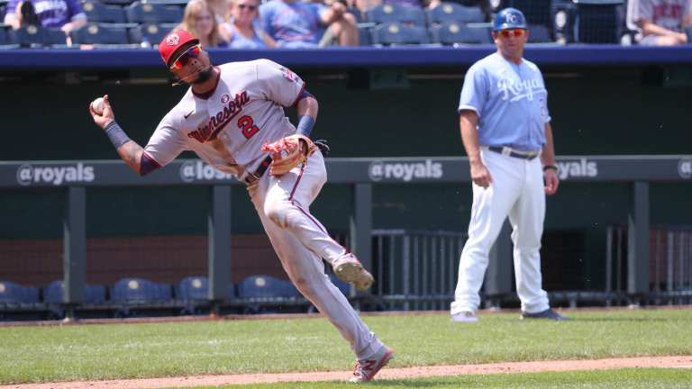 Sunday, July 4: Luis Arraez throws off-balance to first base during Minnesota's 6-2 victory over Kansas City.