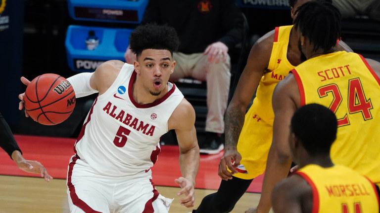 Alabama's Jaden Shackelford drives against Maryland's Donta Scott. (Kirby Lee-USA TODAY Sports)