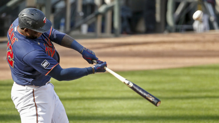 Saturday, May 15: Miguel Sano connects on a three-run blast in the eighth inning of Minnesota's 5-4 victory over Oakland.