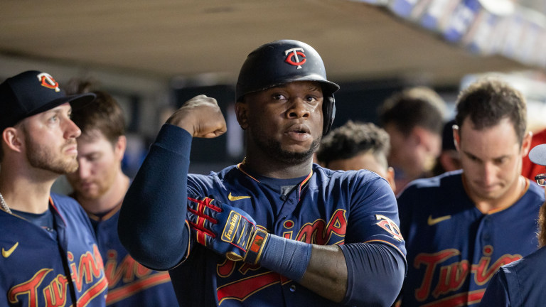Monday, Aug. 9: Twins first baseman Miguel Sano (22) celebrates after hitting a solo home run against the Chicago White Sox during the eighth inning at Target Field.