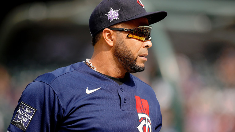 American League designated hitter Nelson Cruz of the Minnesota Twins (23) watches warmups before the 2021 MLB All Star Game at Coors Field.