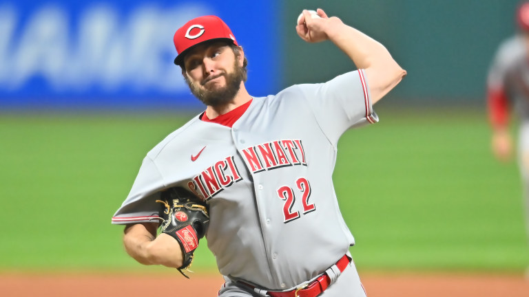 Cincinnati Reds starting pitcher Wade Miley throws a pitch during the first inning against the Cleveland Indians. Mandatory Credit: Ken Blaze-USA TODAY Sports