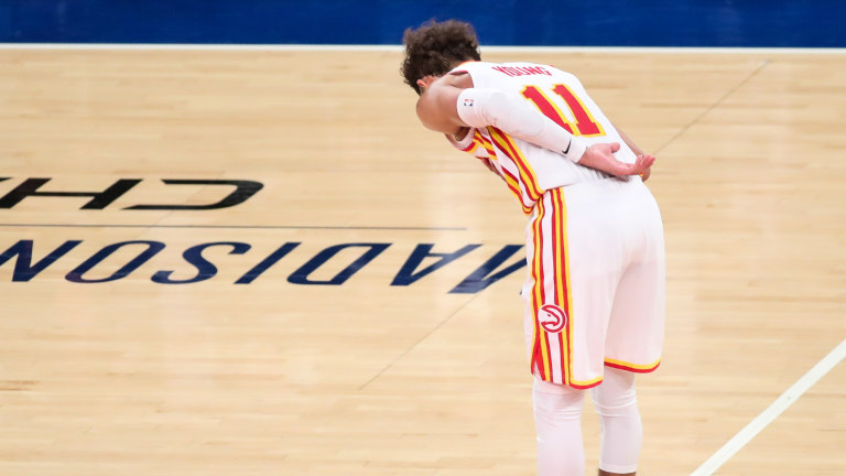 Jun 2, 2021; New York, New York, USA; Atlanta Hawks guard Trae Young (11) during game five in the first round of the 2021 NBA Playoffs at Madison Square Garden. Mandatory Credit: Wendell Cruz-USA TODAY Sports