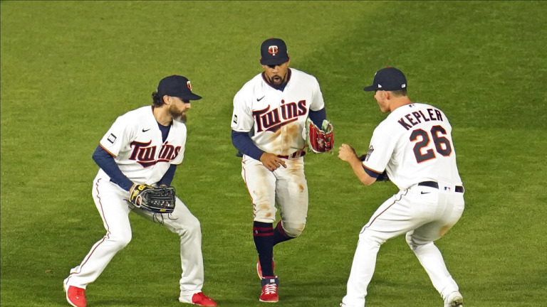 Monday, May 3: Twins outfielders Jake Cave, Byron Buxton and Max Kepler celebrate a win over Texas.