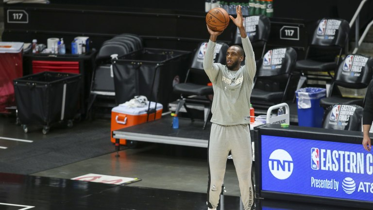 Khris Middleton (22) prepares for a game against the Atlanta Hawks during game four of the Eastern Conference Finals for the 2021 NBA Playoffs at State Farm Arena. Mandatory Credit: Brett Davis-USA TODAY Sports