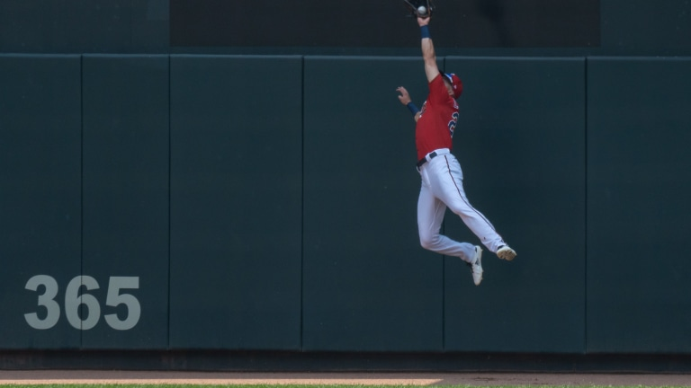 Twins right fielder Trevor Larnach (24) makes the catch for the out during the second inning against the Detroit Tigers at Target Field.