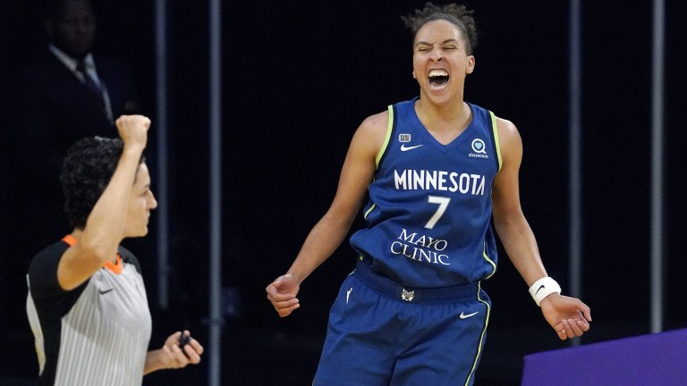 Sunday, July 11: Layshia Clarendon celebrates a bucket during the Minnesota Lynx's 86-61 victory over Los Angeles.