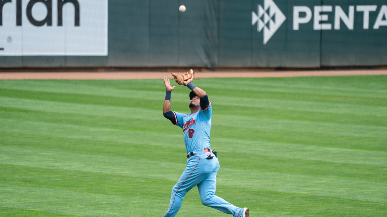 Saturday, July 10: Minnesota Twins third baseman Luis Arraez makes the catch for the out during the second inning against the Detroit Tigers at Target Field.