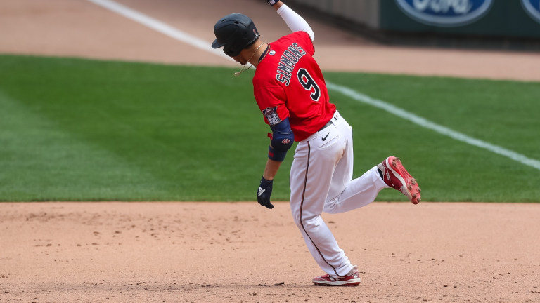 Sunday, May 16: Andrelton Simmons rounds the bases after hitting a game-tying, two-run homer in the eighth inning of the Minnesota Twins' 7-6 loss to Oakland.