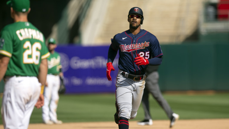 Wednesday, April 21: Twins Byron Buxton runs out his two-run home run against the Oakland Athletics.