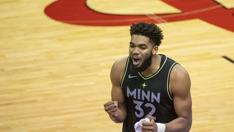 Tuesday, April 27: Karl-Anthony Towns reacts after fouling out in the fourth quarter against the Houston Rockets.