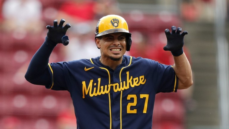 Thursday, June 10: Brewers shortstop Willy Adames (27) reacts after hitting a ground rule double scoring a run against the Cincinnati Reds in the sixth inning at Great American Ball Park.
