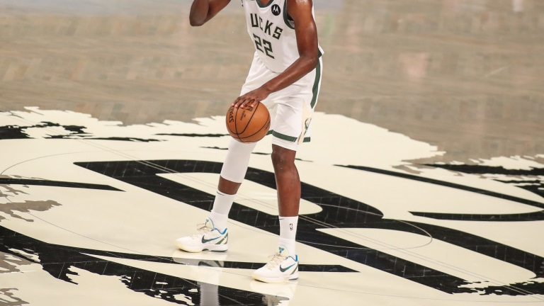 Khris Middleton (22) during game two in the second round of the 2021 NBA Playoffs. at Barclays Center. Mandatory Credit: Wendell Cruz-USA TODAY Sports