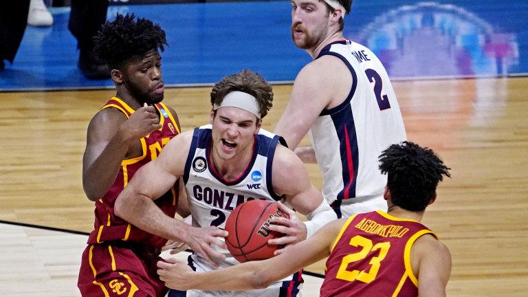 Gonzaga's Kispert drives to the basket against USC's Chevez Goodwin. (Robert Deutsch-USA TODAY Sports)