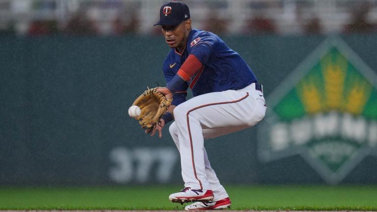 Tuesday, July 6: Minnesota Twins infielder Jorge Polanco fields a ground ball at second base.