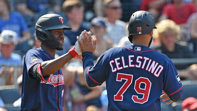 Saturday, July 3: Twins center fielder Gilberto Celestino (79) celebrates with teammate Nick Gordon (1) after scoring a run during the fourth inning against the Kansas City Royals at Kauffman Stadium.