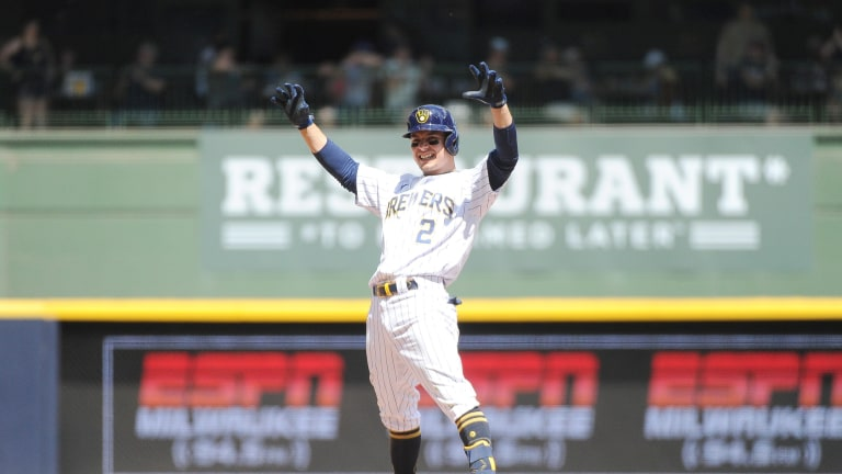 Sunday, June 6: Brewers third baseman Luis Urias (2) celebrates hitting a double against the Arizona Diamondbacks at American Family Field.