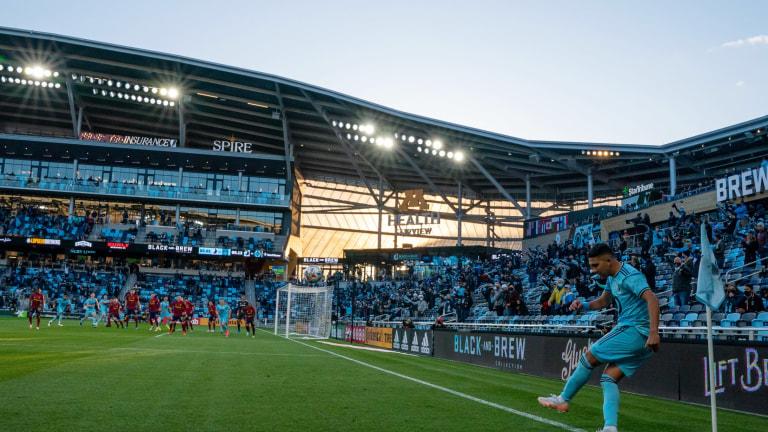 Saturday, April 25: Minnesota United midfielder Emanuel Reynoso takes a corner kick against Real Salt Lake in the first half at Allianz Field.