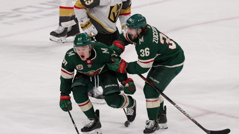 Wild forward Kirill Kaprizov celebrates his goal against the Vegas Golden Knights in the third period at Xcel Energy Center.