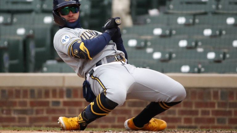 Sunday, April 25: Milwaukee Brewers infielder Kolten Wong avoids getting hit by a pitch during the 6-0 win over the Chicago Cubs.
