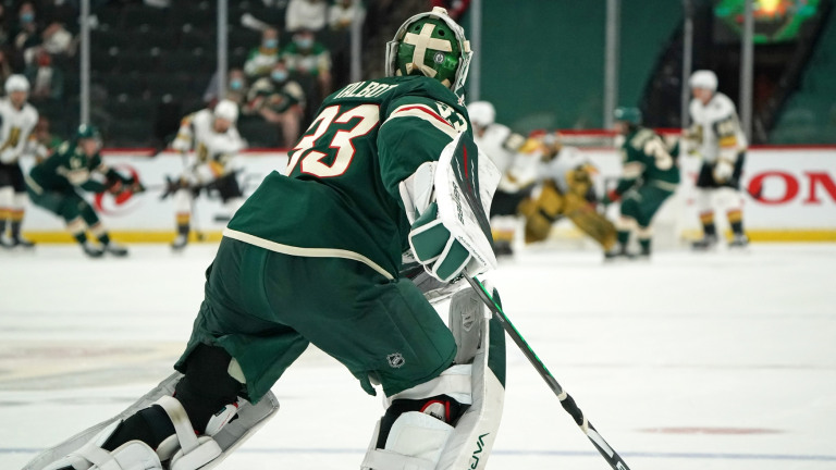 Saturday, May 22: Minnesota Wild goaltender Cam Talbot heads to the bench for an extra skater against the Vegas Golden Knights during the third period of Game 4.