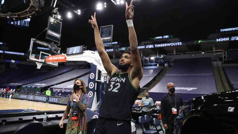 Friday, March 25: Timberwolves' Karl-Anthony Towns celebrates after a comeback win over the Rockets.