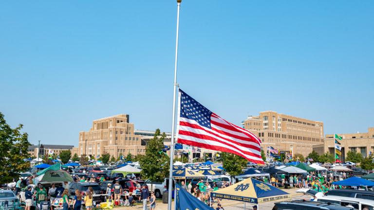 A U.S. flag flies at half staff outside Notre Dame Stadium. (Matt Cashore-USA TODAY Sports)