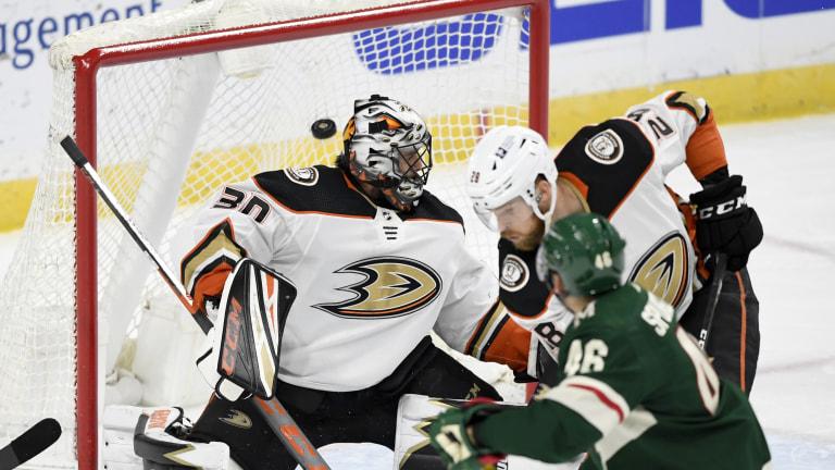 Wednesday, March 24: Wild's Jared Spurgeon watches as his goal gets by Anaheim Ducks goaltender Ryan Miller.