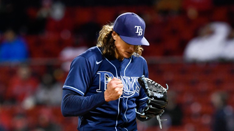 Tampa Bay Rays starting pitcher Tyler Glasnow reacts after finishing the sixth inning at Fenway Park. Mandatory Credit: Brian Fluharty-USA TODAY Sports