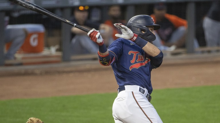 Friday, June 9: Minnesota Twins left fielder Trevor Larnach hits a RBI single in the sixth inning against the Detroit Tigers at Target Field.