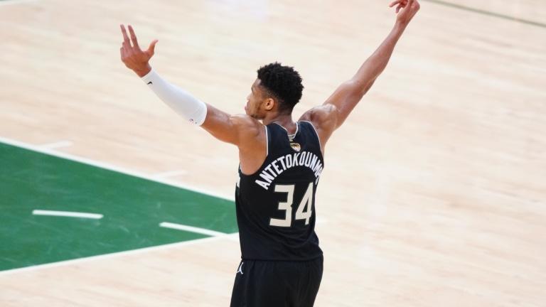 Milwaukee Bucks forward Giannis Antetokounmpo celebrates during Game 6 of the 2021 NBA Finals against the Phoenix Suns at Fiserv Forum.