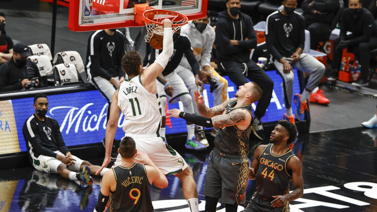 Friday, April 30: Bucks center Brook Lopez throws down a hammer against the Chicago Bulls.