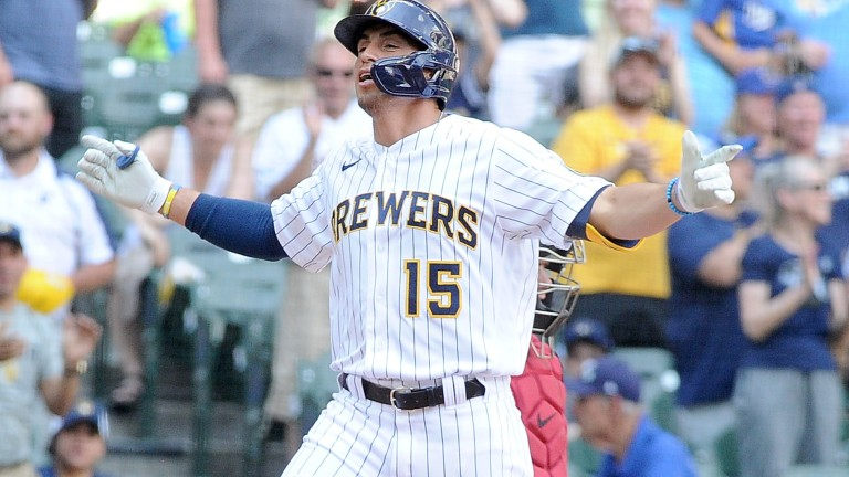 Sunday, June 6: Brewers right fielder Tyrone Taylor (15) celebrates his home run against the Arizona Diamondbacks int he sixth inning at American Family Field.