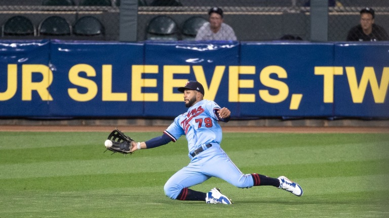 Wednesday, June 9: Twins center fielder Gilberto Celestino catches the ball for the out during the sixth inning against the New York Yankees at Target Field.
