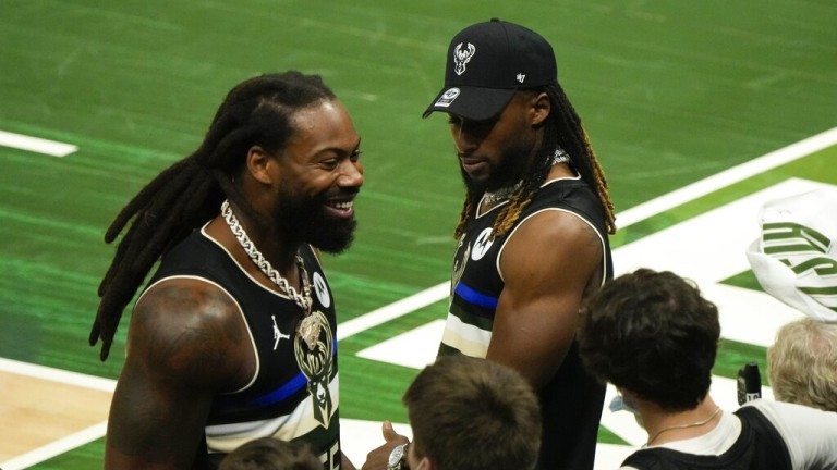 Thursday, June 10: Green Bay Packers Za'Darius Smith and Aaron Jones have some fun during the second half of Game 3 of the NBA Eastern Conference basketball semifinals game between the Milwaukee Bucks and the Brooklyn Nets.