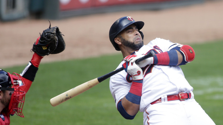 Wednesday, April 14: Minnesota Twins designated hitter Nelson Cruz reacts after getting hit by a pitch from Boston Red Sox starting pitcher Nathan Eovaldi in the first inning of a baseball game.