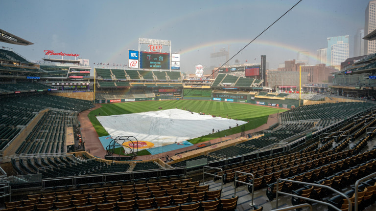 Wednesday, June 9: A rainbow covers Target Field before a game between the Minnesota Twins and New York Yankees at Target Field.