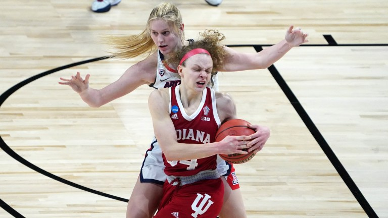 Arizona's Cate Reese battles for the ball with Indiana's Grace Berger. (Kirby Lee-USA TODAY Sports)