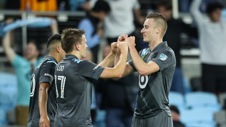 Saturday, May 15: Robin Lod celebrates his goal in the 94th minute as Minnesota United FC defeated FC Dallas 1-0.