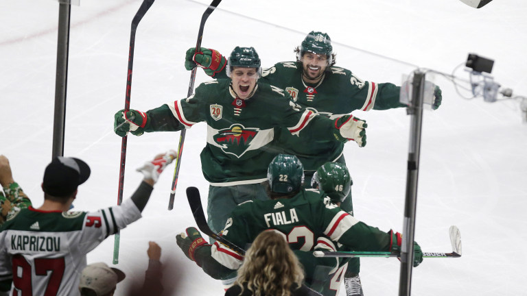 Wednesday, May 26: Minnesota Wild left wing Kevin Fiala is congratulated by Joel Eriksson Ek and Mats Zuccarello after scoring a goal against the Vegas Golden Knights during the third period in Game 6.