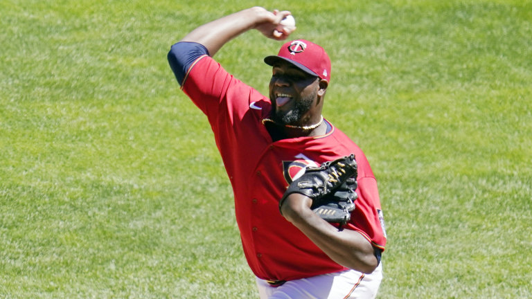 Wednesday, May 26: Minnesota Twins pitcher Michael Pineda throws against the Baltimore Orioles in the first inning of a baseball game.