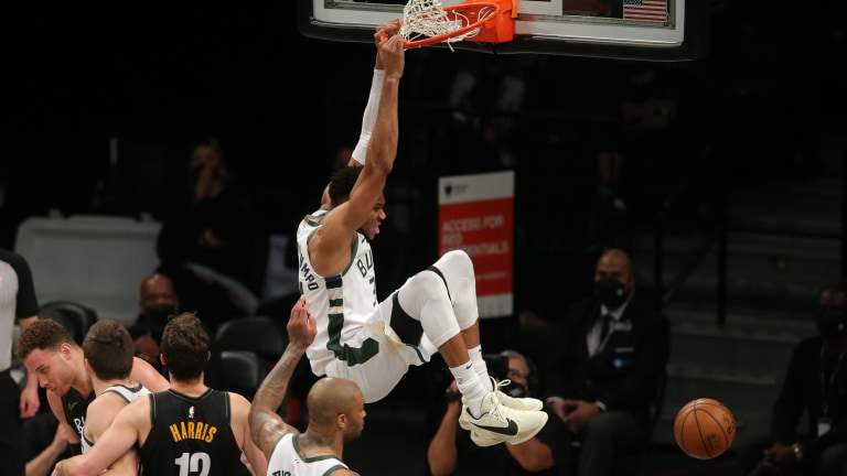 Tuesday, June 15: Milwaukee Bucks power forward Giannis Antetokounmpo dunks against the Brooklyn Nets during the third quarter of game five of the second round of the 2021 NBA Playoffs at Barclays Center.