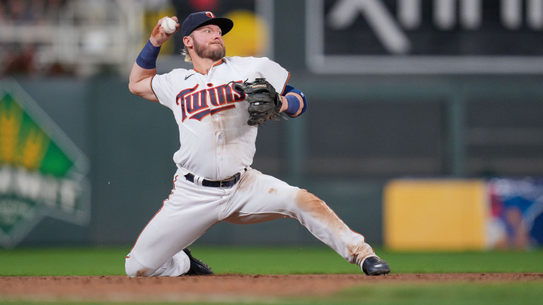 Thursday, June 24: Minnesota Twins third baseman Josh Donaldson throws from a knee against the Cleveland Indians during the ninth inning at Target Field.
