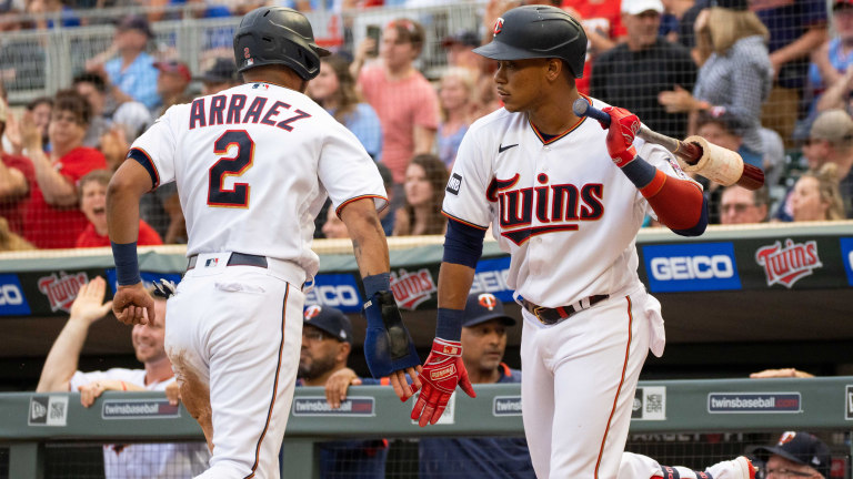 Thursday, June 24: Minnesota Twins second baseman Jorge Polanco congratulates outfielder Luis Arraez after scoring against the Cleveland Indians in the first inning at Target Field.