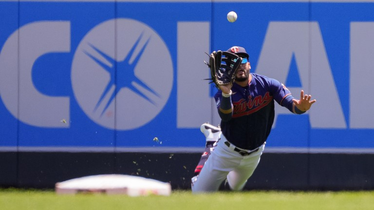 Tuesday, June 22: Minnesota Twins outfielder Gilberto Celestino makes a diving catch against the Cincinnati Reds in the second inning at Target Field.