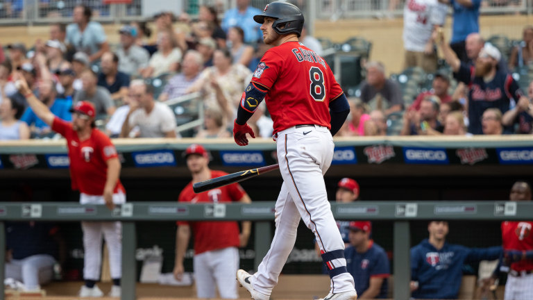 Tuesday, July 27: Minnesota Twins catcher Mitch Garver reacts after hitting a grand slam against the Detroit Tigers during the first inning at Target Field.