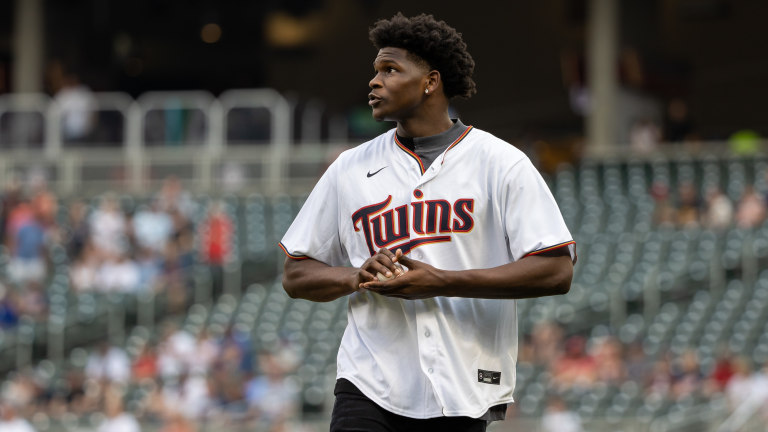 Tuesday, July 27: Minnesota Timberwolves guard Anthony Edwards throws out the first pitch prior to a game between the Detroit Tigers and the Minnesota Twins at Target Field.