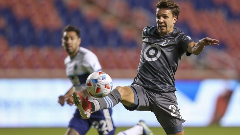 Saturday, July 31: Minnesota United midfielder Adrien Hunou plays a ball against the Vancouver Whitecaps in the second half at Rio Tinto Stadium.