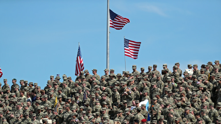 West Point cadets watch the game under American flags during the first half against the Western Kentucky Hilltoppers at Michie Stadium. (Danny Wild-USA TODAY Sports)